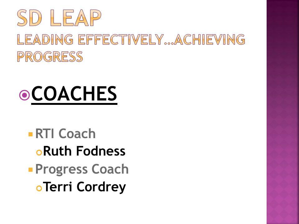  COACHES  RTI Coach Ruth Fodness  Progress Coach Terri Cordrey