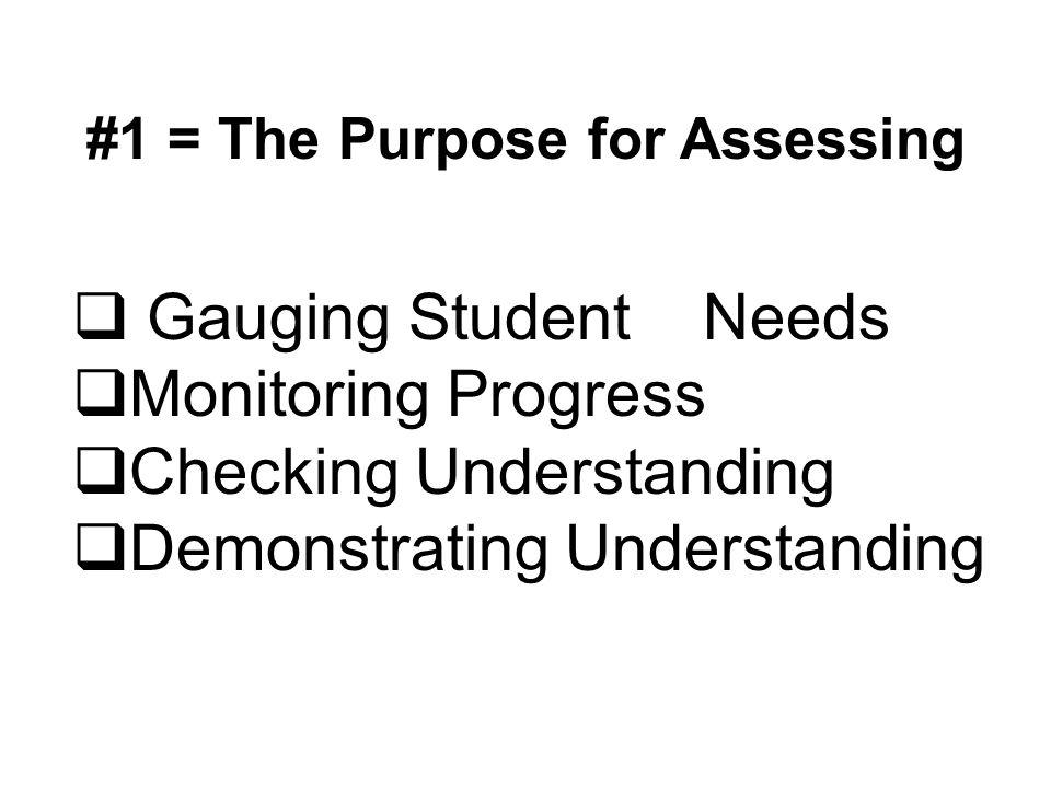 #1 = The Purpose for Assessing  Gauging Student Needs  Monitoring Progress  Checking Understanding  Demonstrating Understanding