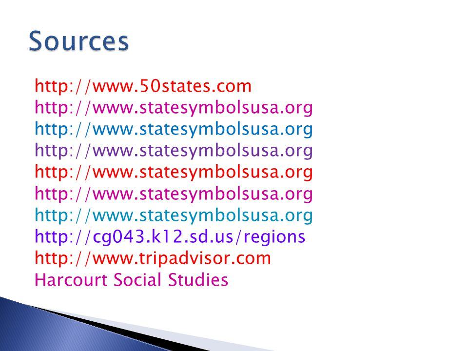 http://www.50states.com http://www.statesymbolsusa.org http://cg043.k12.sd.us/regions http://www.tripadvisor.com Harcourt Social Studies
