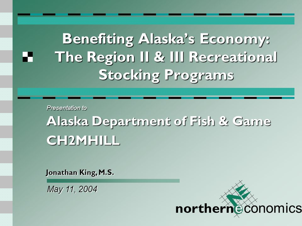 northern e conomics Study Goals Provide an estimate of the yearly value to the Alaskan economy of ADF&G's recreational hatchery stocking program for Regions II and III.