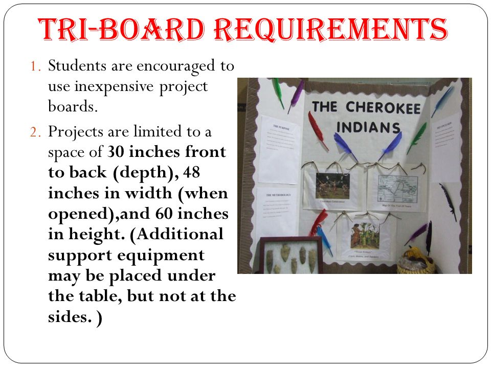 Tri-Board Requirements 1. Students are encouraged to use inexpensive project boards. 2. Projects are limited to a space of 30 inches front to back (de