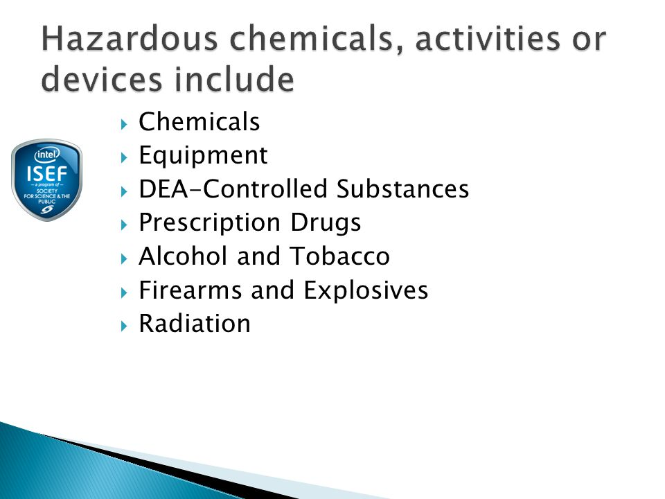  Chemicals  Equipment  DEA-Controlled Substances  Prescription Drugs  Alcohol and Tobacco  Firearms and Explosives  Radiation