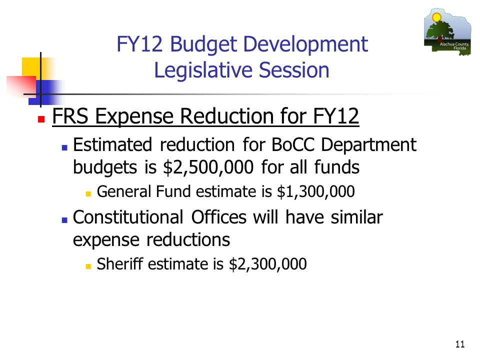 FY12 Budget Development Legislative Session FRS Expense Reduction for FY12 Estimated reduction for BoCC Department budgets is $2,500,000 for all funds General Fund estimate is $1,300,000 Constitutional Offices will have similar expense reductions Sheriff estimate is $2,300,000 11