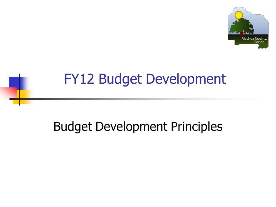 FY12 Budget Development Budget Development Principles
