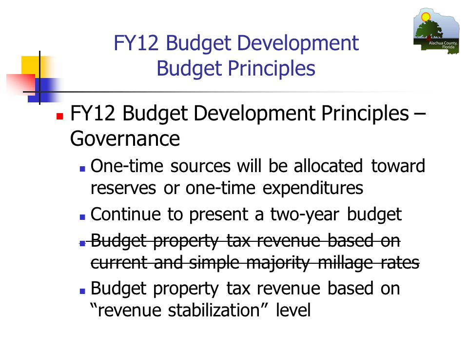 FY12 Budget Development Budget Principles FY12 Budget Development Principles – Governance One-time sources will be allocated toward reserves or one-time expenditures Continue to present a two-year budget Budget property tax revenue based on current and simple majority millage rates Budget property tax revenue based on revenue stabilization level