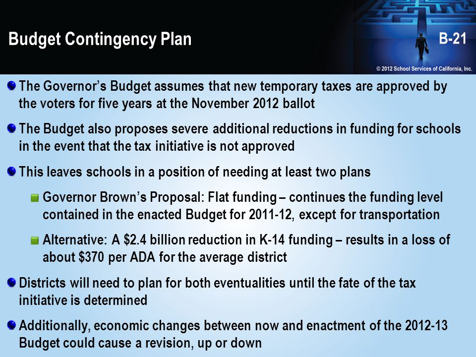 Budget Contingency Plan The Governor's Budget assumes that new temporary taxes are approved by the voters for five years at the November 2012 ballot The Budget also proposes severe additional reductions in funding for schools in the event that the tax initiative is not approved This leaves schools in a position of needing at least two plans Governor Brown's Proposal: Flat funding – continues the funding level contained in the enacted Budget for 2011-12, except for transportation Alternative: A $2.4 billion reduction in K-14 funding – results in a loss of about $370 per ADA for the average district Districts will need to plan for both eventualities until the fate of the tax initiative is determined Additionally, economic changes between now and enactment of the 2012-13 Budget could cause a revision, up or down B-21
