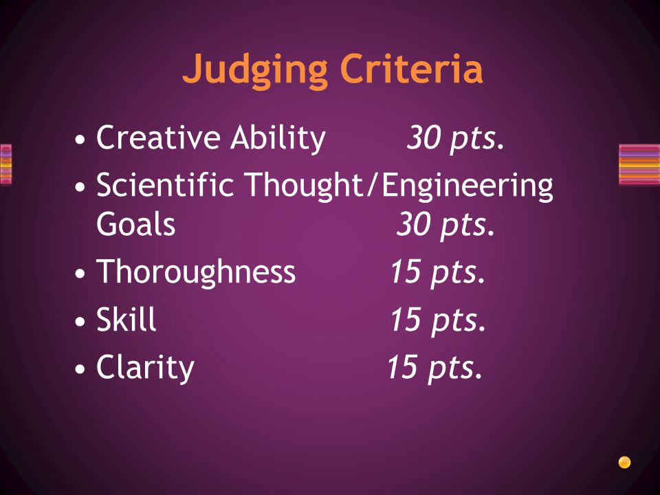Creative Ability 30 pts. Scientific Thought/Engineering Goals 30 pts.