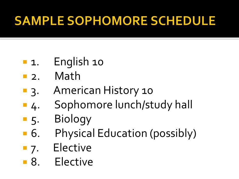  1. English 10  2. Math  3. American History 10  4.