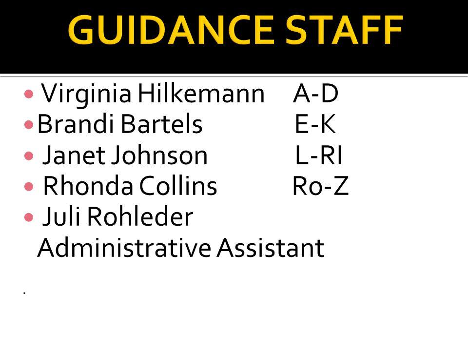 Virginia Hilkemann A-D Brandi Bartels E-K Janet Johnson L-RI Rhonda Collins Ro-Z Juli Rohleder Administrative Assistant.
