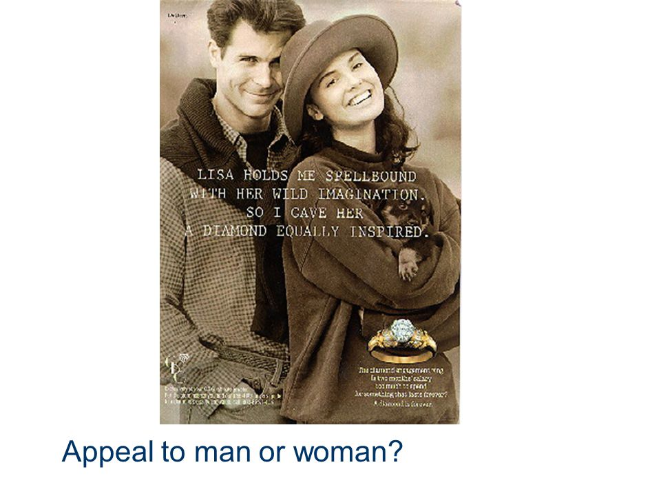 Sex Appeal: The use of sex to sell a product. Appeal to man: Minimal criteria for sexual desire. Appeal to woman: More difficult to appeal to women's