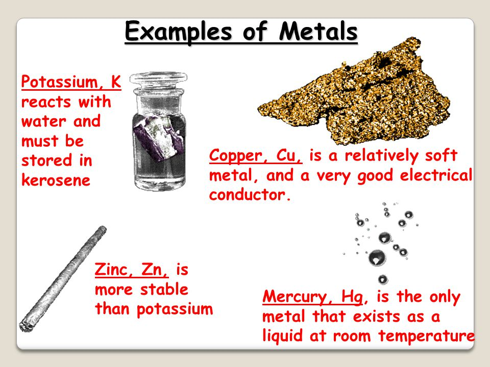 Properties of Metals  Metals are good conductors of heat and electricity  Metals are malleable  Metals are ductile  Metals have high tensile stren