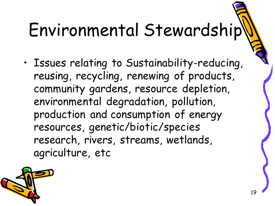 19 Environmental Stewardship Issues relating to Sustainability-reducing, reusing, recycling, renewing of products, community gardens, resource depletion, environmental degradation, pollution, production and consumption of energy resources, genetic/biotic/species research, rivers, streams, wetlands, agriculture, etc