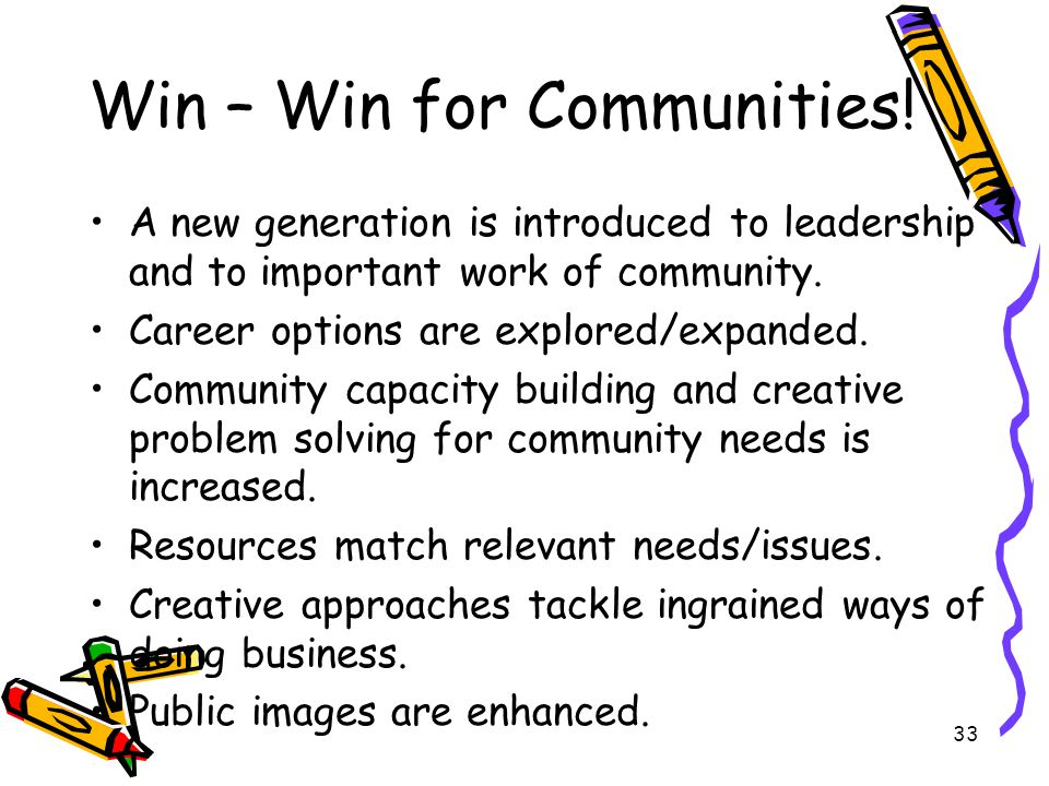 33 Win – Win for Communities.