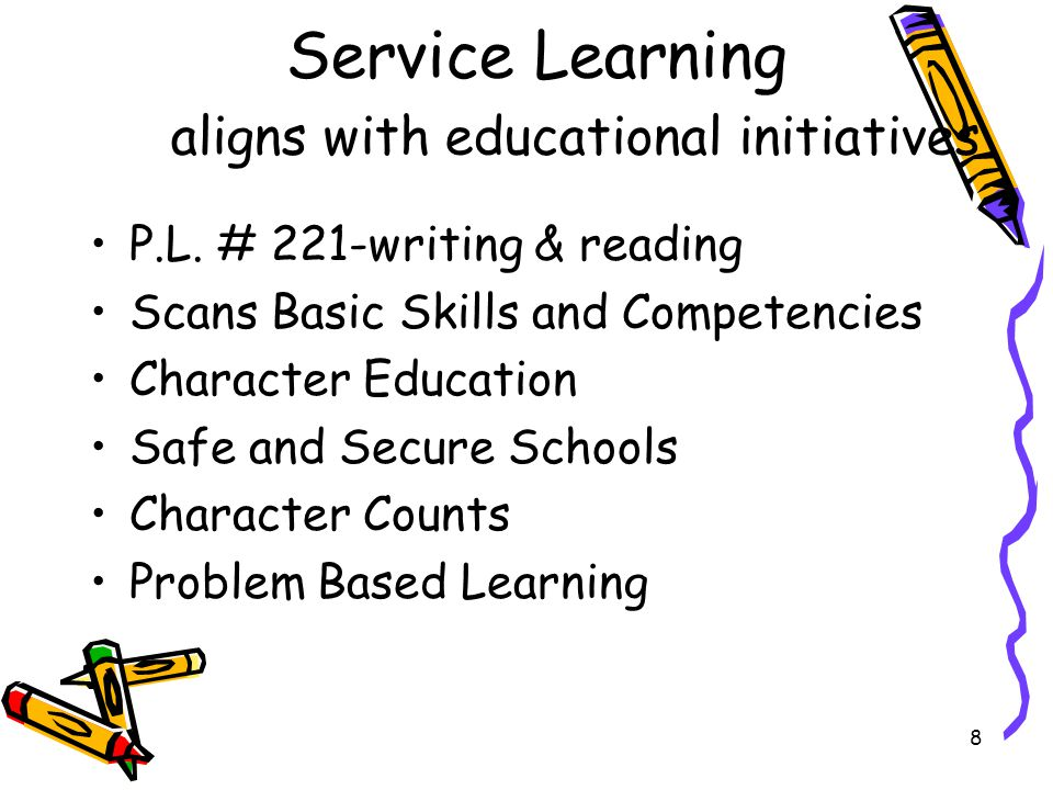 9 Service Learning Aligns with Curricula Language Arts/ English –reading & writing across curriculum/content Math/Science Social Studies/Civic Engagement Technology Visual & Performing Arts FACS/Physical Education/Vocational and Technical Arts SCANS- 'soft skills' Leadership Development Problem Based Learning, Socratic Seminars, authentic engagement, bullying prevention