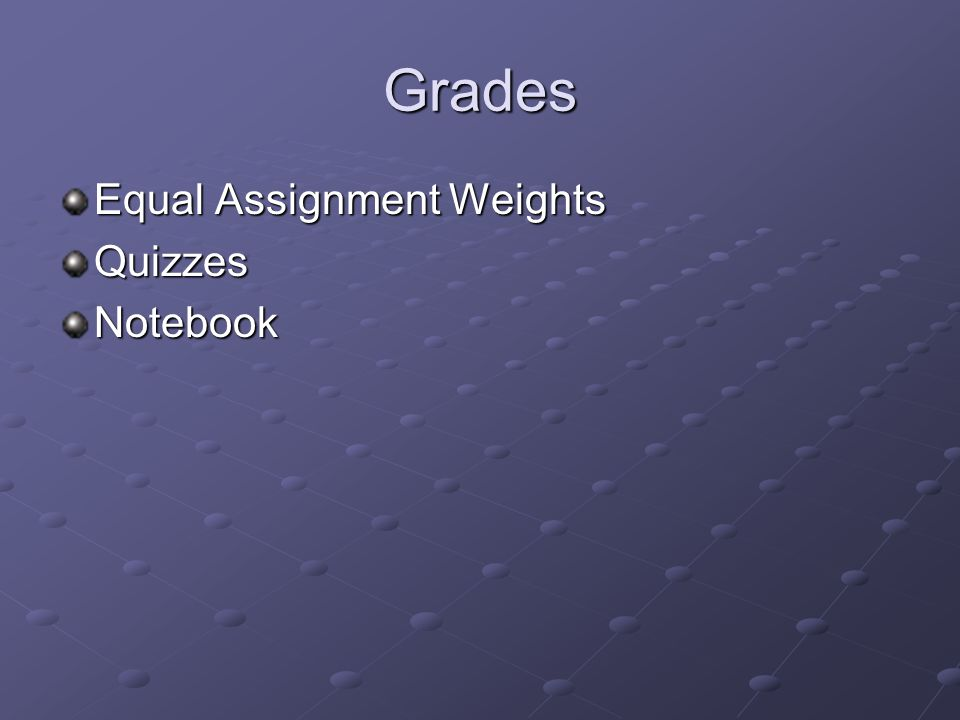 Grades Equal Assignment Weights QuizzesNotebook