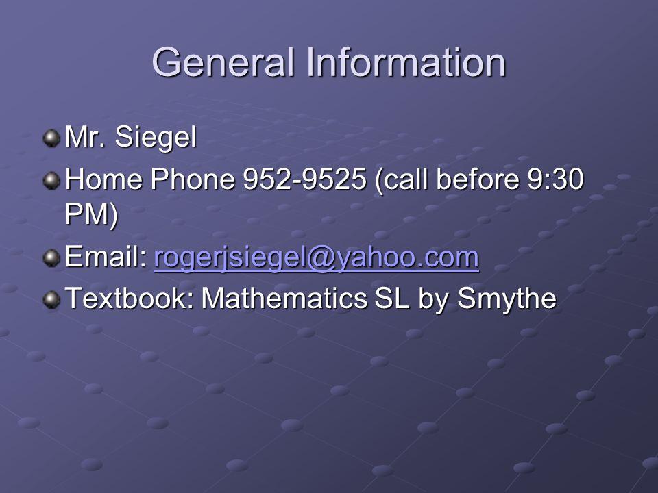 General Information Mr.