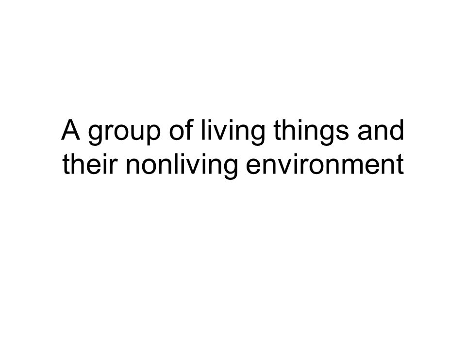 A group of living things and their nonliving environment