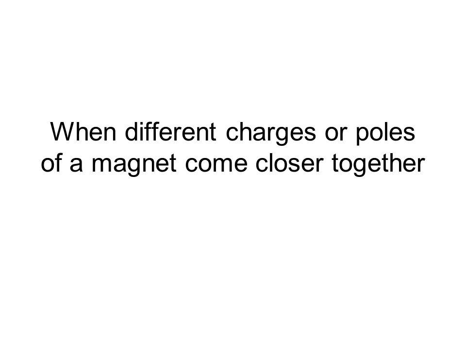 When different charges or poles of a magnet come closer together