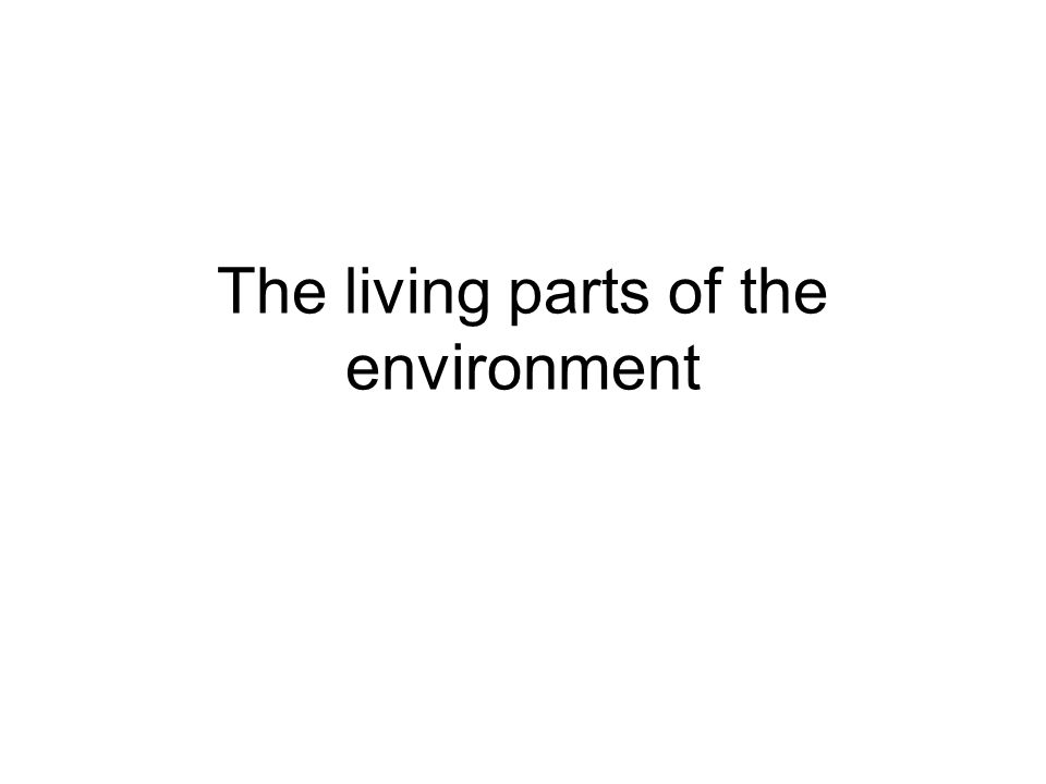 The living parts of the environment