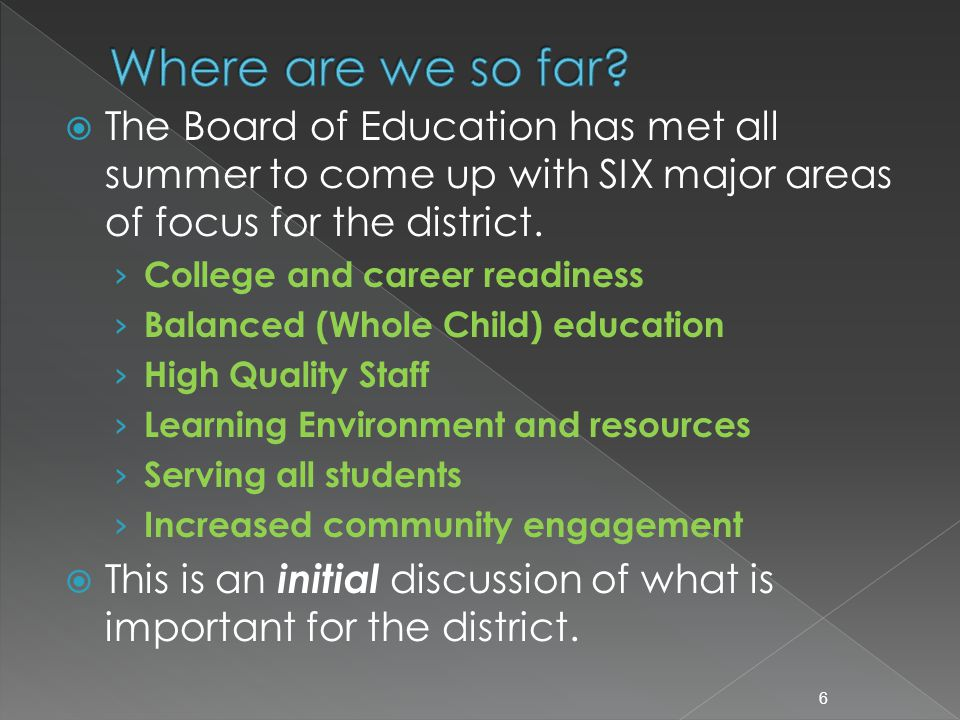  The Board of Education has met all summer to come up with SIX major areas of focus for the district. › College and career readiness › Balanced (Whol