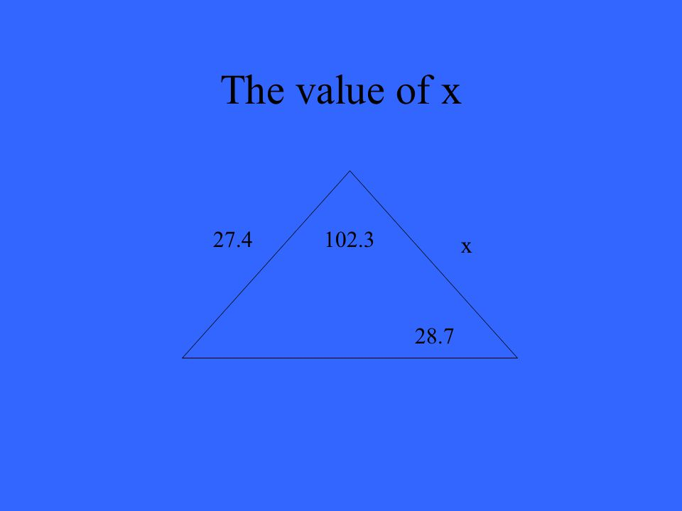 The value of x x