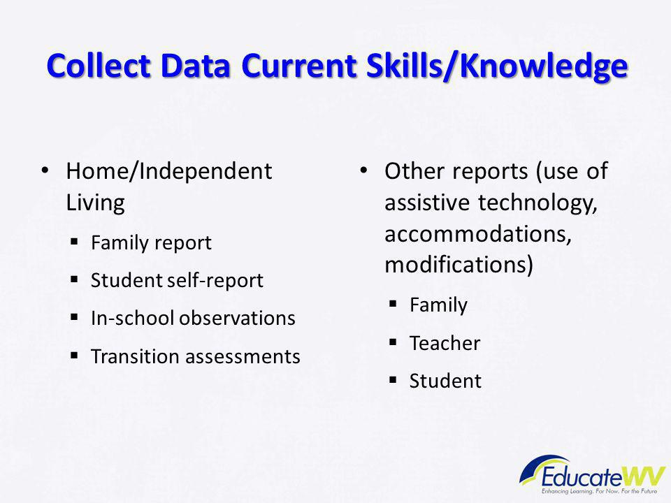Home/Independent Living  Family report  Student self-report  In-school observations  Transition assessments Other reports (use of assistive techno