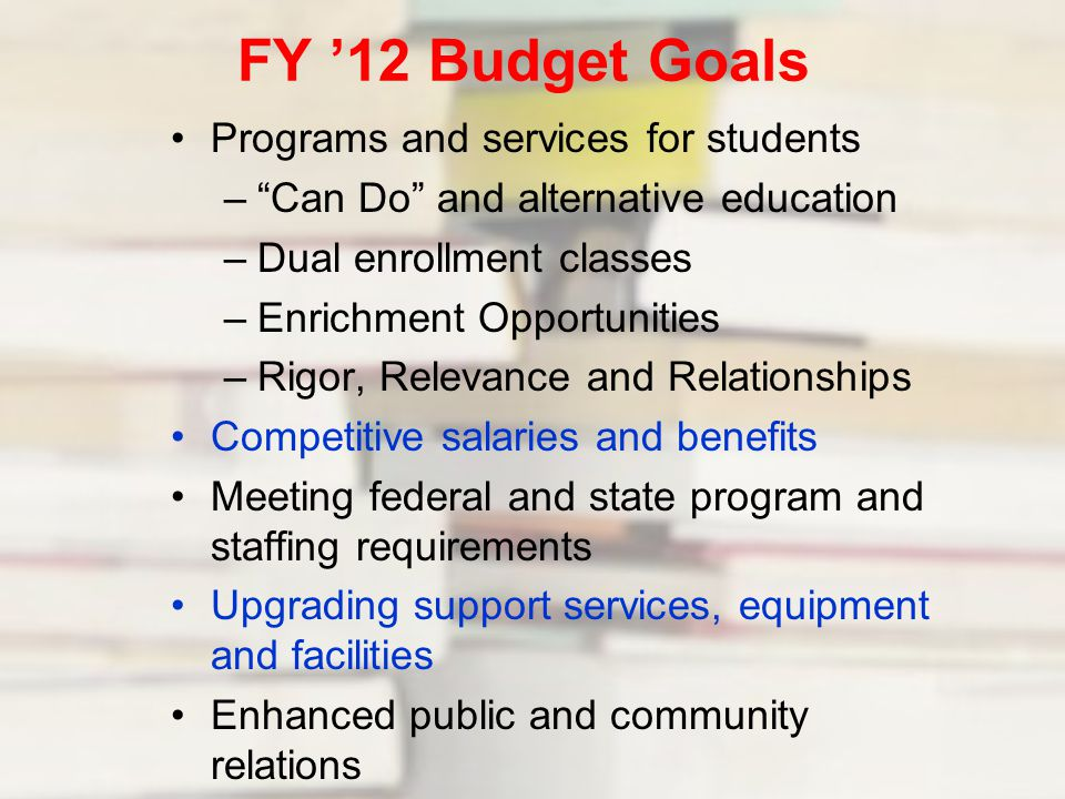 FY '12 Budget Goals Programs and services for students – Can Do and alternative education –Dual enrollment classes –Enrichment Opportunities –Rigor, Relevance and Relationships Competitive salaries and benefits Meeting federal and state program and staffing requirements Upgrading support services, equipment and facilities Enhanced public and community relations