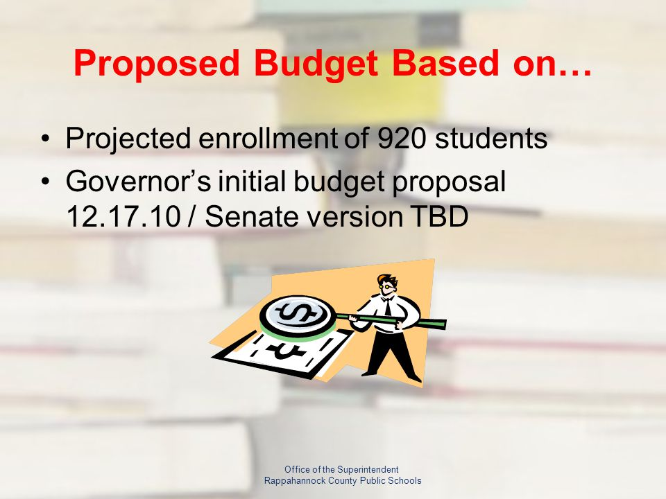 Proposed Budget Based on… Projected enrollment of 920 students Governor's initial budget proposal / Senate version TBD Office of the Superintendent Rappahannock County Public Schools
