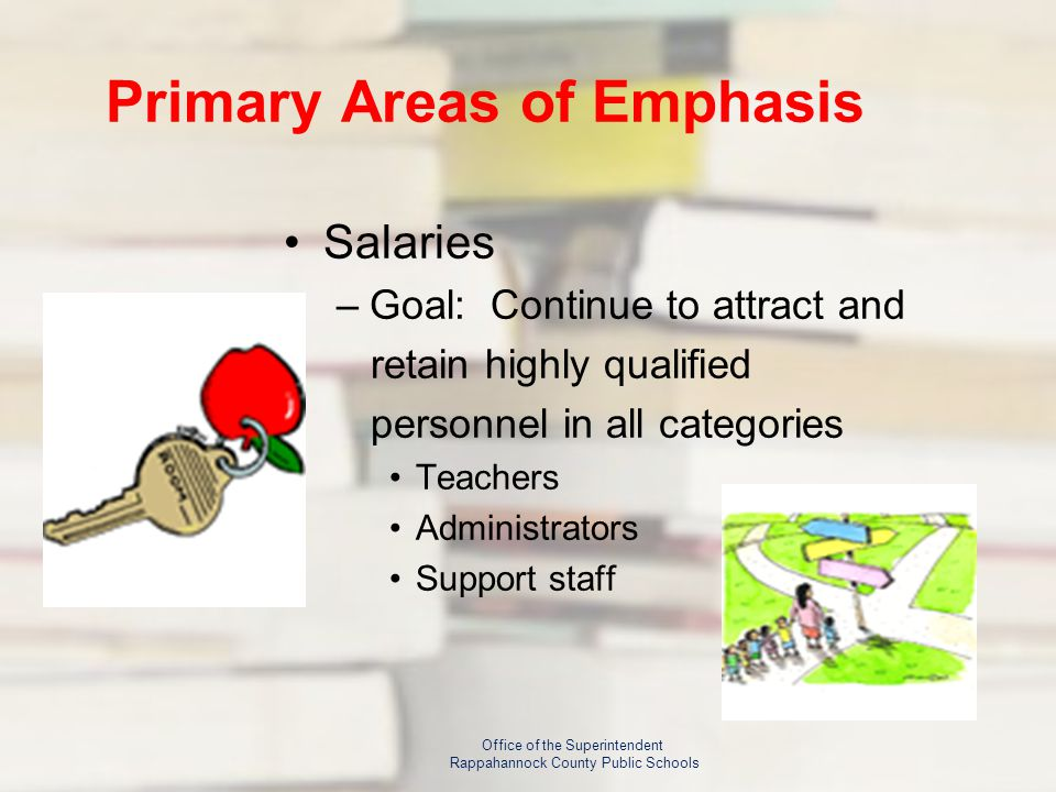 Primary Areas of Emphasis Salaries –Goal: Continue to attract and retain highly qualified personnel in all categories Teachers Administrators Support staff Office of the Superintendent Rappahannock County Public Schools