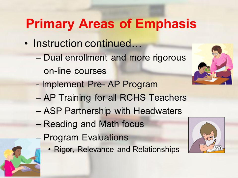 Primary Areas of Emphasis Instruction continued… –Dual enrollment and more rigorous on-line courses - Implement Pre- AP Program –AP Training for all RCHS Teachers –ASP Partnership with Headwaters –Reading and Math focus –Program Evaluations Rigor, Relevance and Relationships Office of the Superintendent Rappahannock County Public Schools