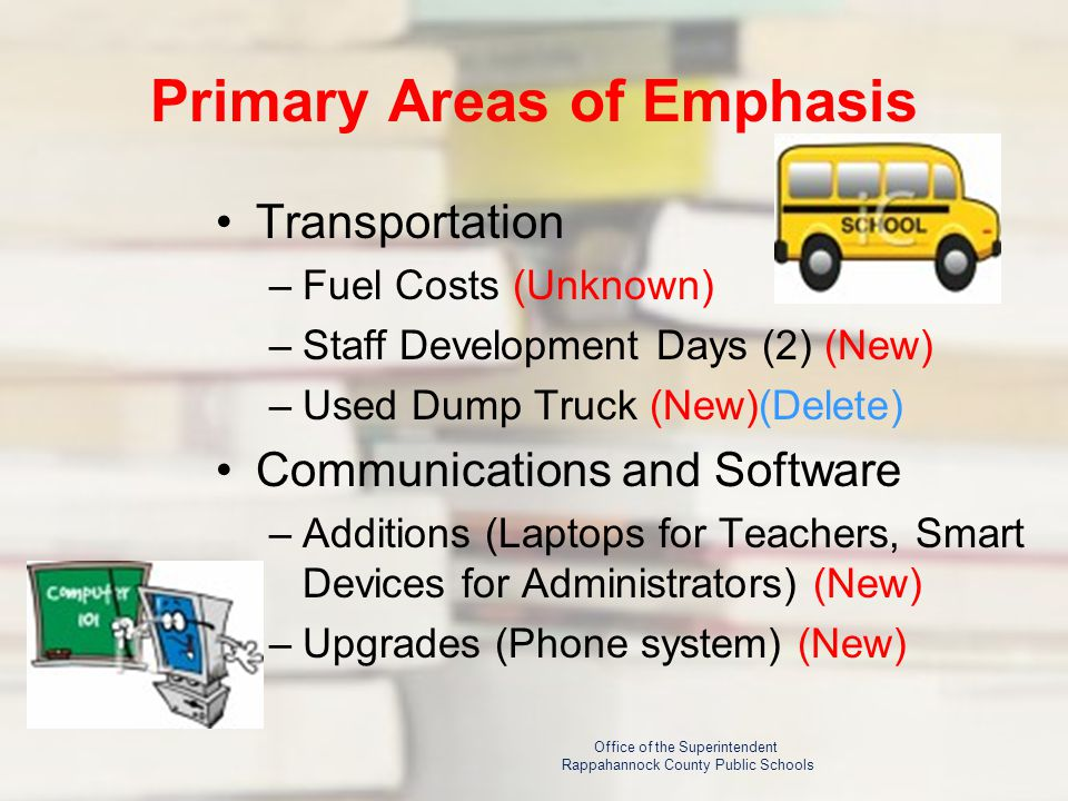 Primary Areas of Emphasis Transportation –Fuel Costs (Unknown) –Staff Development Days (2) (New) –Used Dump Truck (New)(Delete) Communications and Software –Additions (Laptops for Teachers, Smart Devices for Administrators) (New) –Upgrades (Phone system) (New) Office of the Superintendent Rappahannock County Public Schools