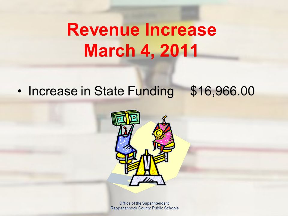 Revenue Increase March 4, 2011 Increase in State Funding$16, Office of the Superintendent Rappahannock County Public Schools