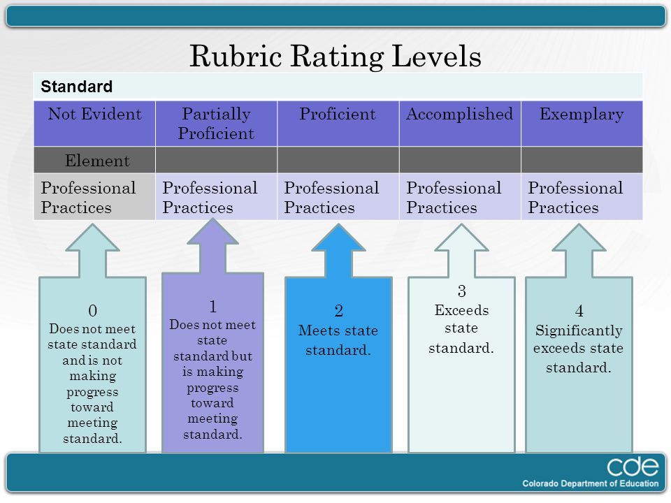 Rubric Rating Levels Standard Not EvidentPartially Proficient ProficientAccomplishedExemplary Element Professional Practices 0 Does not meet state sta