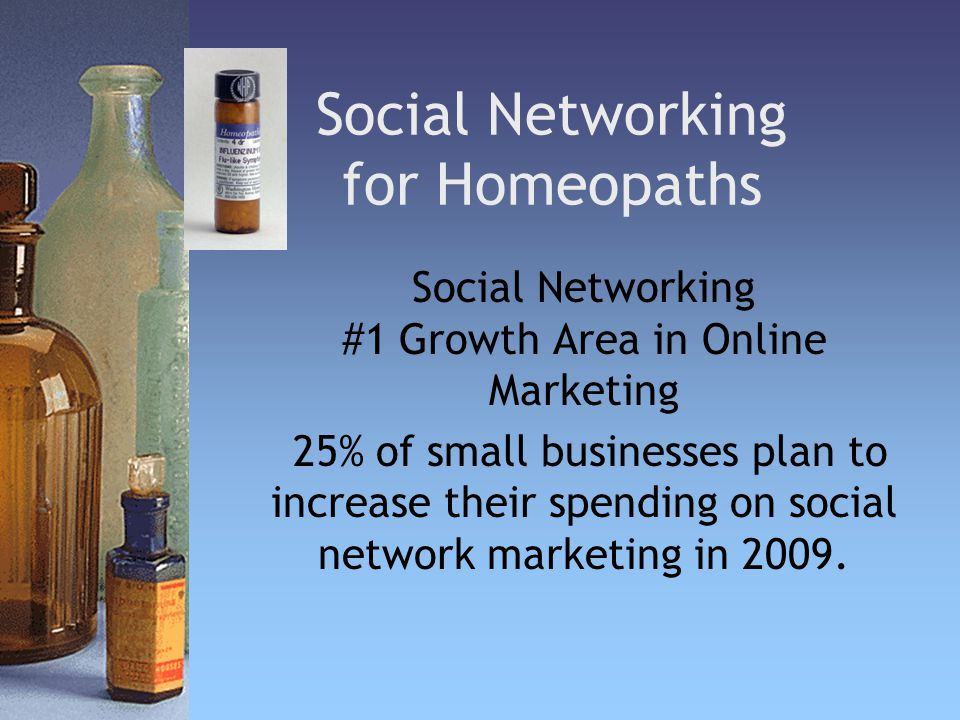 Social Networking for Homeopaths Social Networking #1 Growth Area in Online Marketing 25% of small businesses plan to increase their spending on social network marketing in 2009.