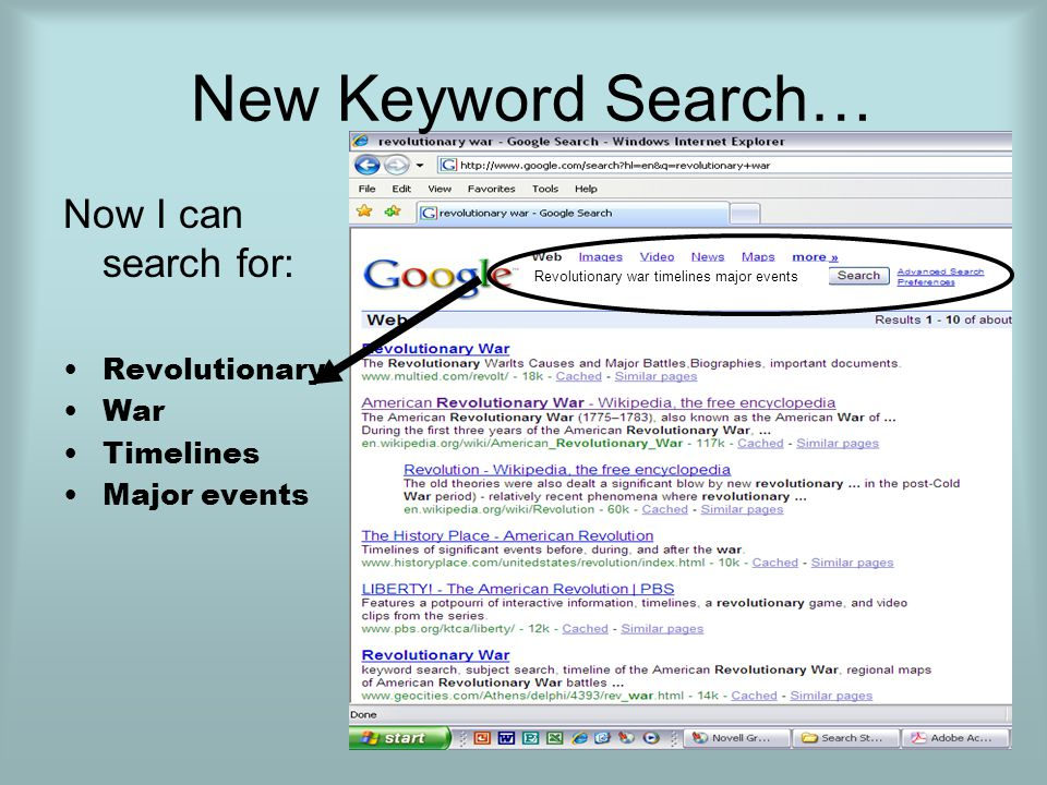 New Keyword Search… Now I can search for: Revolutionary War Timelines Major events Revolutionary war timelines major events