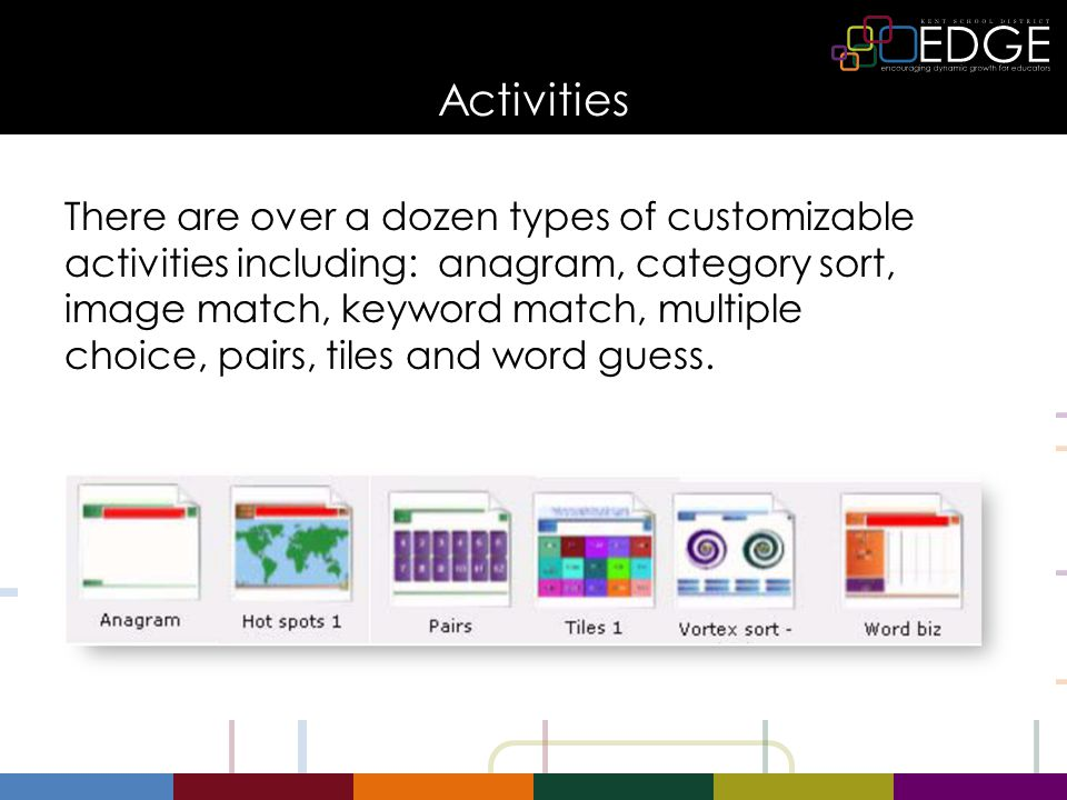 Activities There are over a dozen types of customizable activities including: anagram, category sort, image match, keyword match, multiple choice, pairs, tiles and word guess.