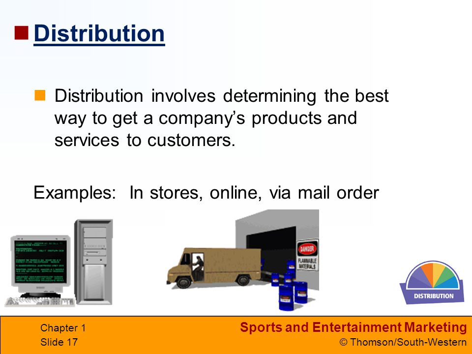 Sports and Entertainment Marketing © Thomson/South-Western Chapter 1 Slide 17 Distribution involves determining the best way to get a company's produc
