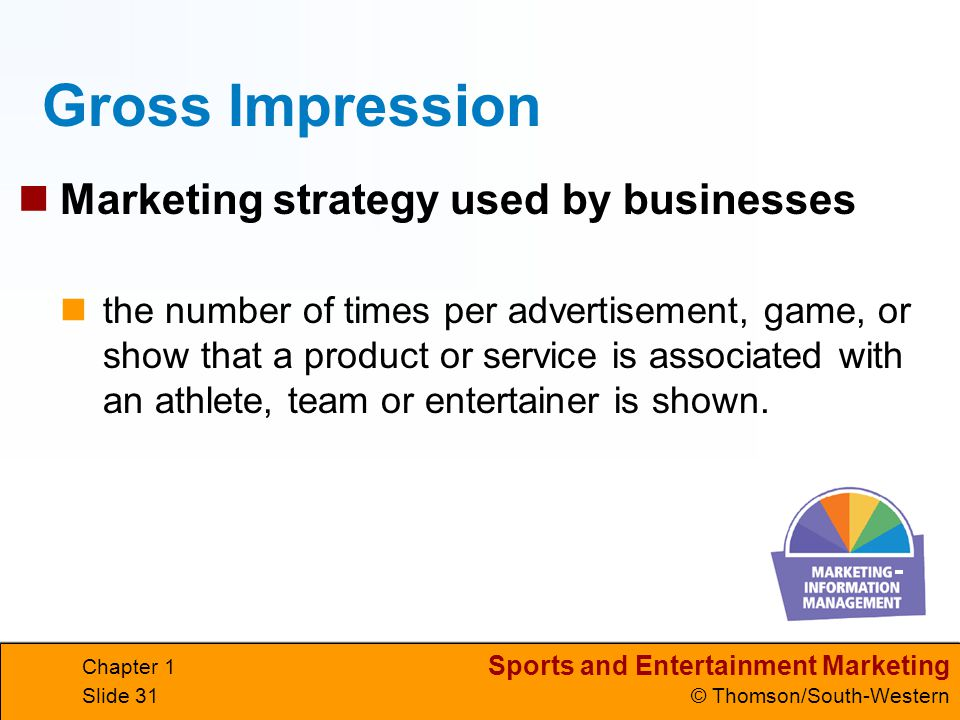 Sports and Entertainment Marketing © Thomson/South-Western Chapter 1 Slide 31 Gross Impression Marketing strategy used by businesses the number of tim