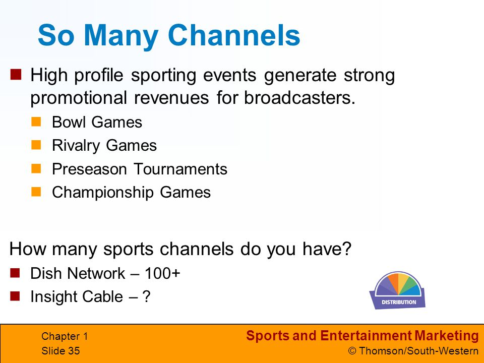 Sports and Entertainment Marketing © Thomson/South-Western Chapter 1 Slide 35 So Many Channels High profile sporting events generate strong promotiona