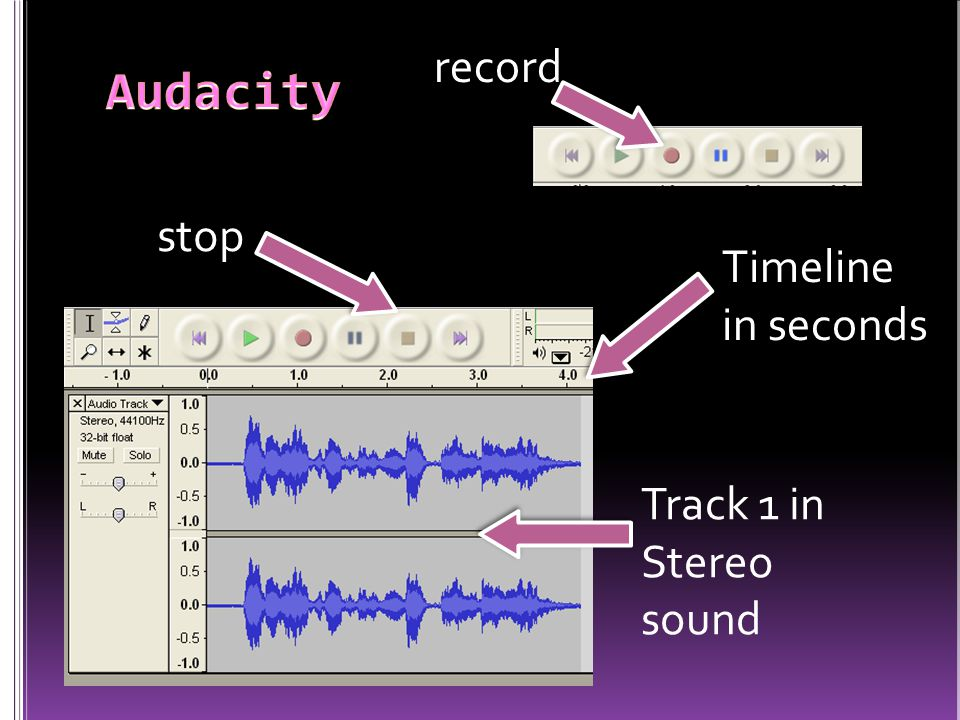 stop record Track 1 in Stereo sound Timeline in seconds