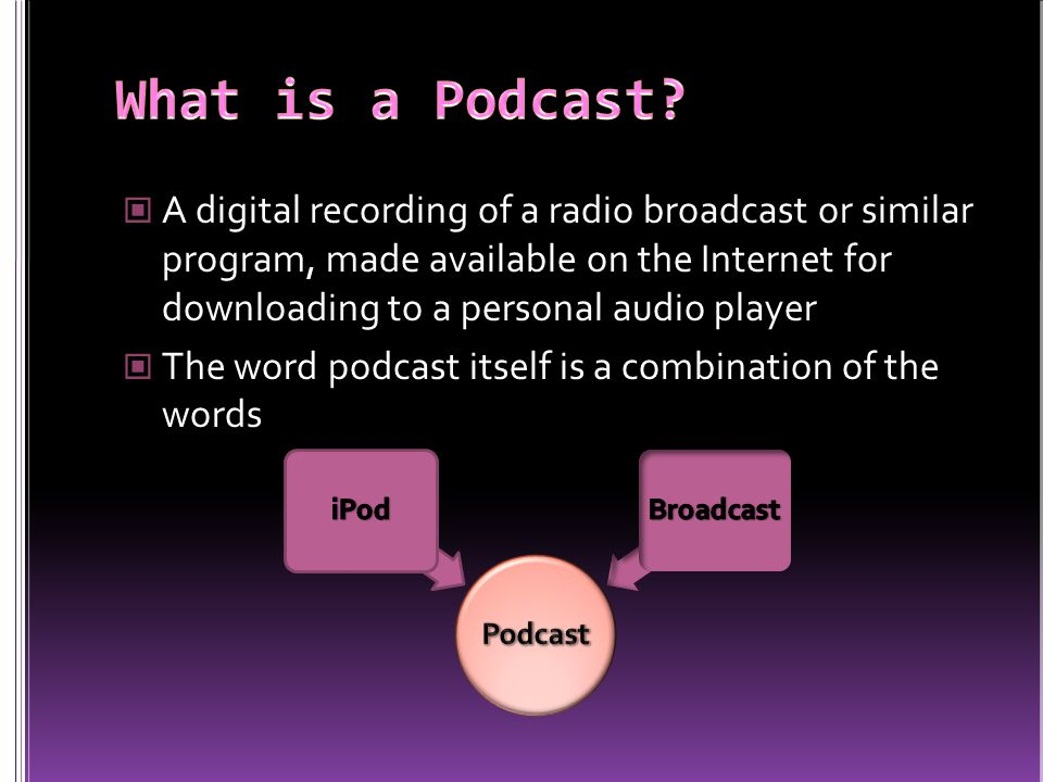 A digital recording of a radio broadcast or similar program, made available on the Internet for downloading to a personal audio player The word podcast itself is a combination of the words