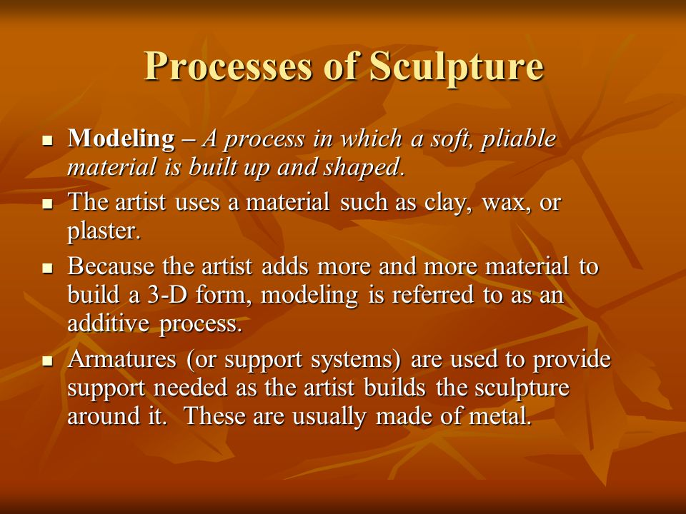 Processes of Sculpture Modeling – A process in which a soft, pliable material is built up and shaped.