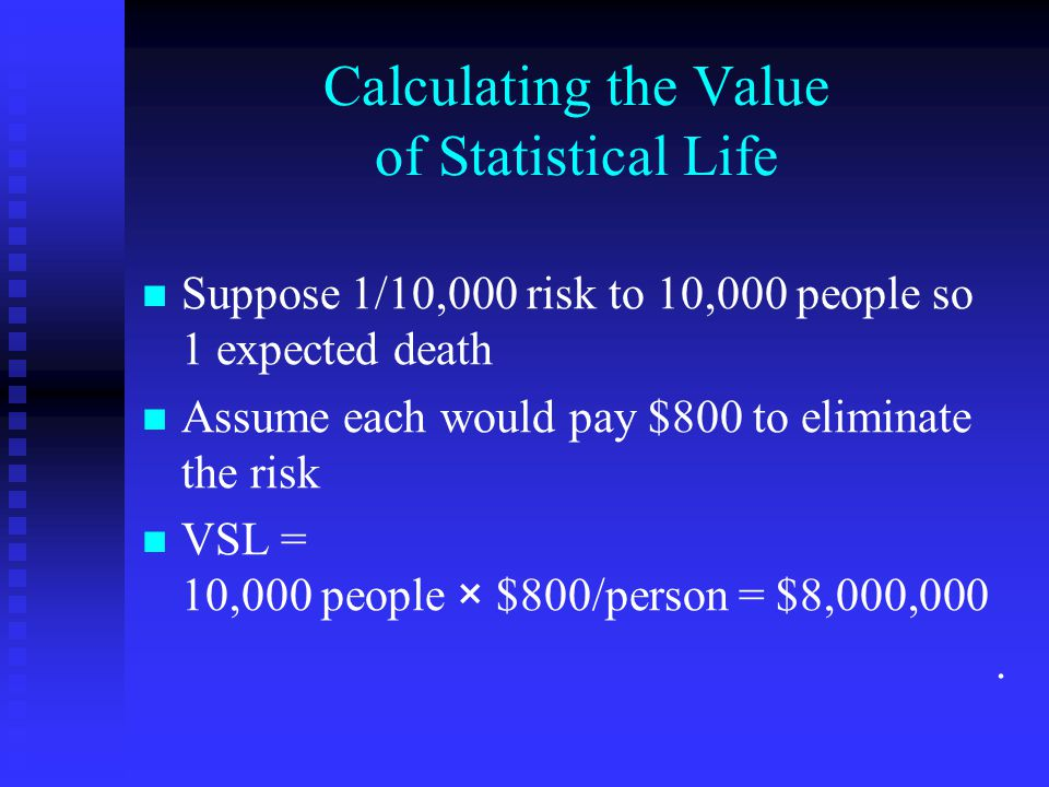 The 2008 Devaluation of Life Controversy, cont'd Proposed Senate legislation in Fall 2008 requiring that agencies must only raise VSL over time.