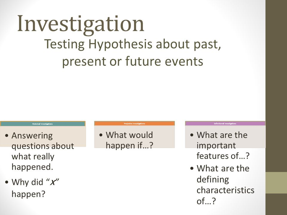 Investigation Historical Investigations Answering questions about what really happened.