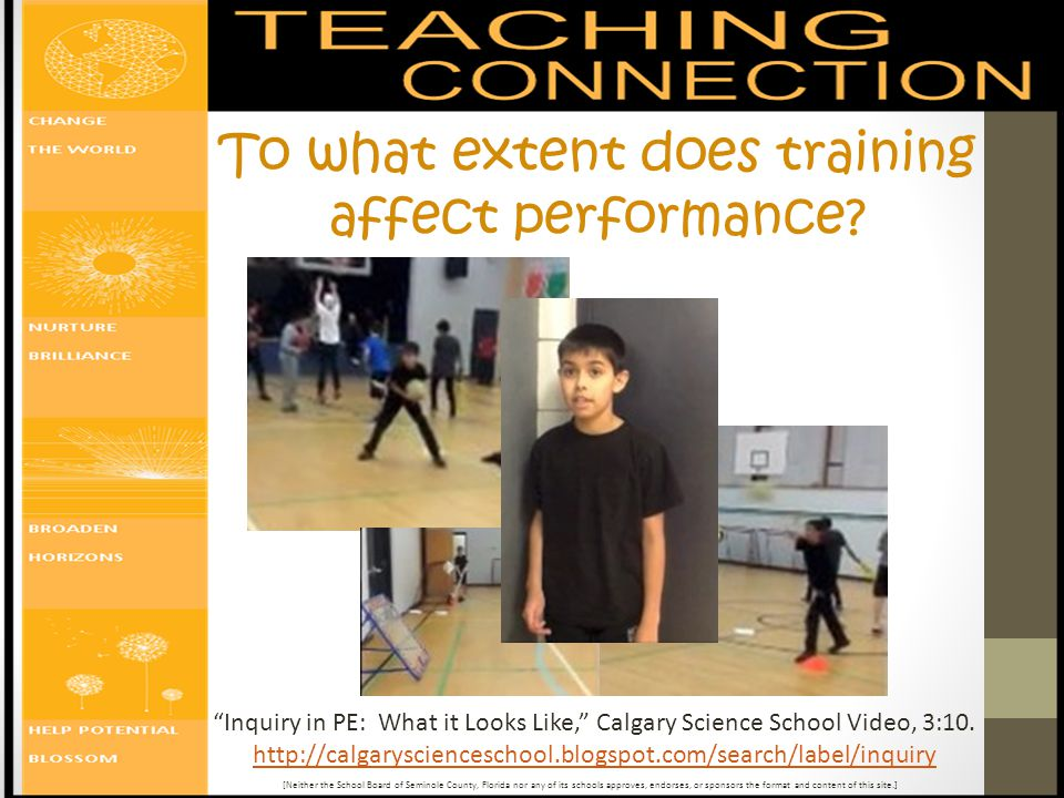 Inquiry in PE: What it Looks Like, Calgary Science School Video, 3:10.