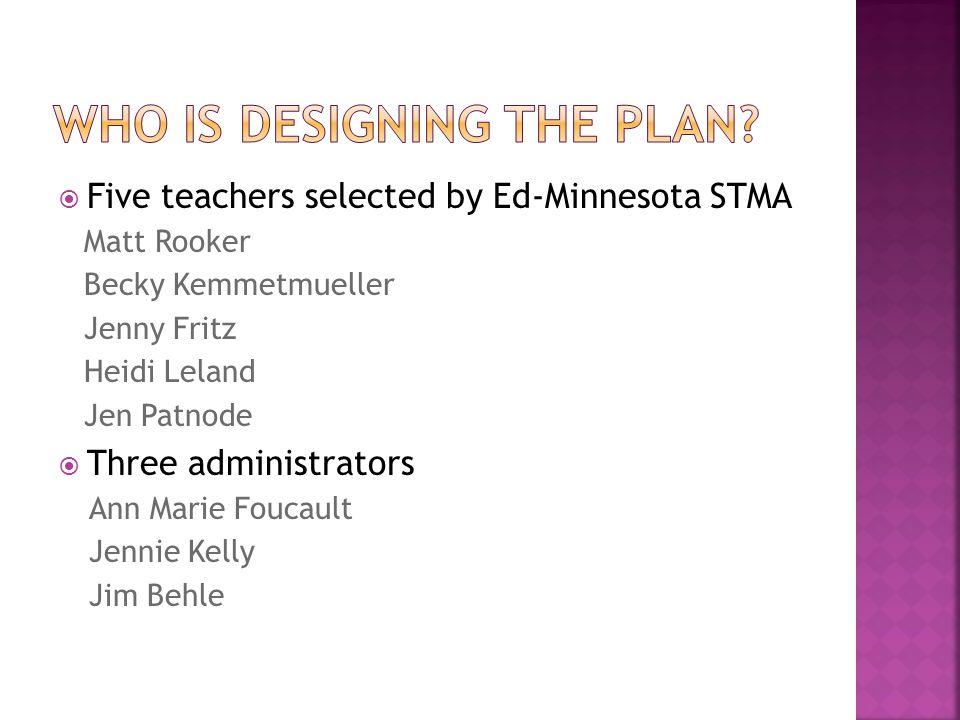  Five teachers selected by Ed-Minnesota STMA Matt Rooker Becky Kemmetmueller Jenny Fritz Heidi Leland Jen Patnode  Three administrators Ann Marie Foucault Jennie Kelly Jim Behle