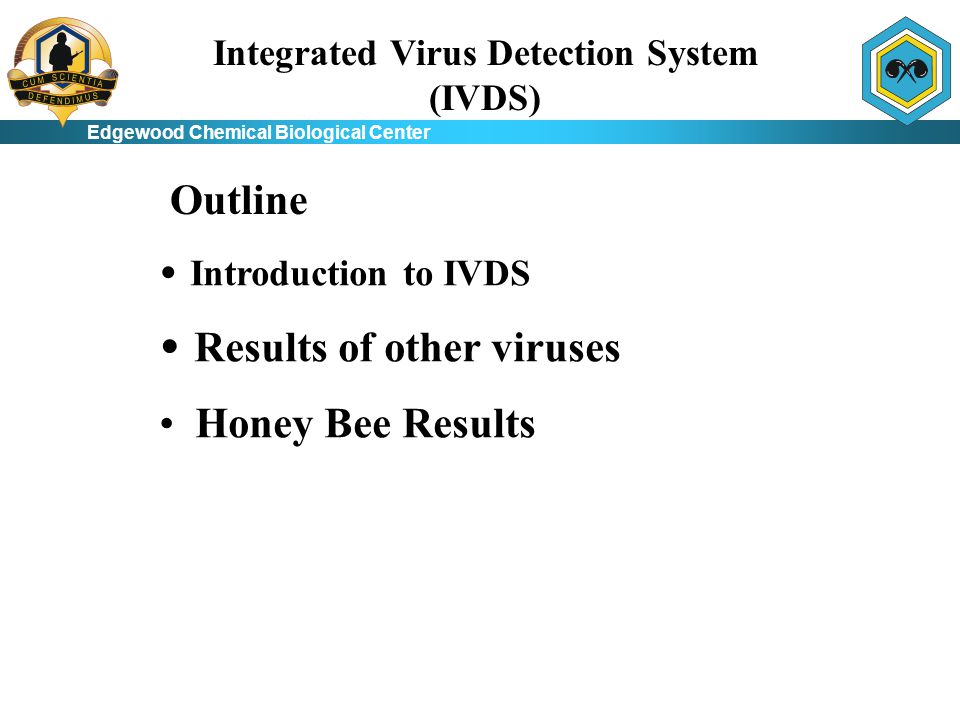 Edgewood Chemical Biological Center Integrated Virus Detection System (IVDS) Introduction to IVDS Results of other viruses Honey Bee Results Outline