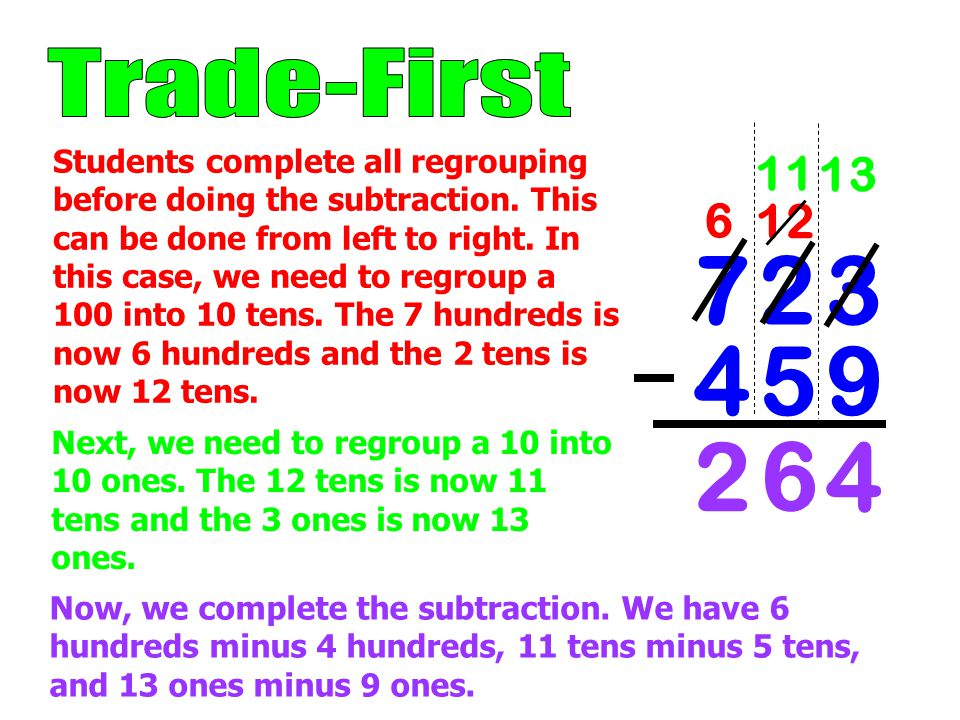 12 7 2 37 2 3 4 5 94 5 9 6 11 2 13 6 4 Students complete all regrouping before doing the subtraction.