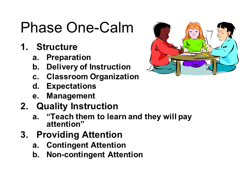 """Phase One-Calm 1.Structure a.Preparation b.Delivery of Instruction c.Classroom Organization d.Expectations e.Management 2.Quality Instruction a.""""Teach"""