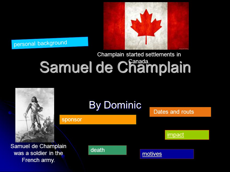 Samuel de Champlain By Dominic Samuel de Champlain was a soldier in the French army.